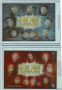 Star Trek TOS Heroes & Villains Complete Case Topper Clear 2 Card Set CT1 + CT2