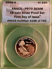2009-S US Virgin Islands Silver Quarter - ANACS PR70 - Perfect Coin - 1st Day