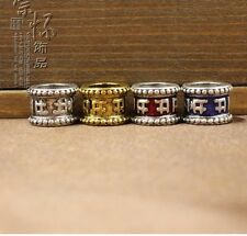 4 PC tibetan silver buddhism six words mantra dreadlock beads 7mm hole