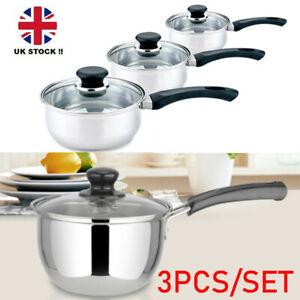 3 Set Deep Induction Saucepans/Cookware/Pan Pot Set with lids Stainless Steel UK