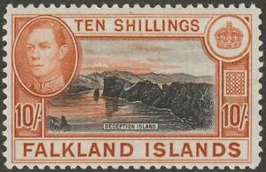 Falkland Islands 1938 KGVI 10sh Black and Orange-Brown Mint SG162 cat £200