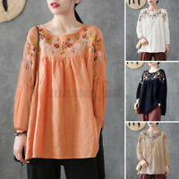 Womens Long Sleeve Solid Cotton Embroidery Shirts Casual Loose Tunic Tops Blouse
