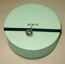 """TOUS JEWELRY GREEN GIFT BOX 4"""" DIAMETER 2"""" HIGH W/ ELASTIC BAND & BELL INCLUDED"""