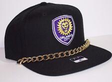 Orlando City SC MLS Adidas WOMENS Gold Bling Chain Snapback Flat Brim Hat Cap