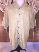 Mens RELAX TOMMY BAHAMA L Large Silk Shirt Hibiscus & Palms Lite Gold/Green EUC