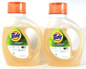 2 Bottles Tide 37 Oz Purclean Plant Based 4X Cleaning Power 24 Loads Detergent