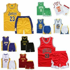 Boys Kids LAL James #23 Basketball Jersey Training Sport Tank Vest Shirt Kit UK~