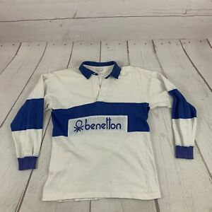 Vintage United Colors Of Benetton Spellout Rugby Shirt Italy 100% Cotton Blue