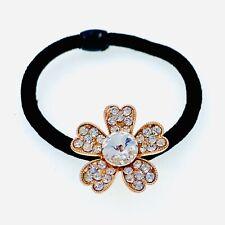Flower Hair Rope Wrap Rhinestone Crystal Scrunchies Ponytail Holder Gold F14