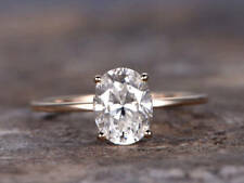 1ct Oval Cut VVS1 Diamond Classic Solitaire Engagement Ring 14k Real Yellow Gold
