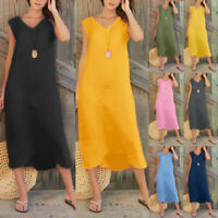 Women Summer Solid Sleeveless V Neck Cotton Linen Long Maxi Beach Dress