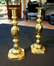Beautiful Antique Victorian Brass Candlesticks Signed - The Queen Of Diamonds
