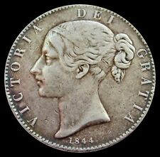1844 SILVER GREAT BRITAIN CROWN QUEEN VICTORIA YOUNG HEAD COIN VERY FINE