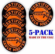 Hard Hat Stickers Funny Caulk Master Vinyl Decals Painter Caulking Gun Orange
