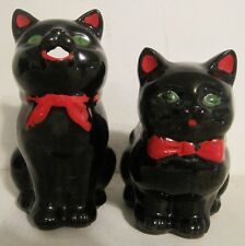 VINTAGE 1950's  SHAFFORD REDWARE BLACK CAT COLD PAINTED CREAMER and SUGAR BOWLS