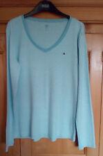 Tommy Hilfiger Ladies Light Blue & White Striped Scoop Neck Cotton T Shirt, XL