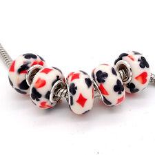 2017 5pcs silver MURANO charm beads for European bracelet V158