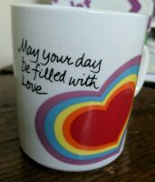 1983 THE LOVE MUG Avon Coffee Mug Rainbow heart May your day be filled with love