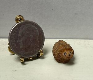 Vintage Artisan Signed Tiny Hedgehog For Garden Dollhouse Miniature 1:12