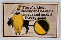 "Holmes - Clown & Donkey Yellow ""Join Us and Make it Three"" Comic c1912 Postcard"