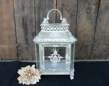 ORNATE GREEN WHITE WASH METAL LANTERN CANDLE HOLDER ~ OLD WORLD VINTAGE DECOR