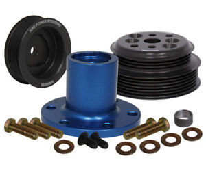 KRC FORD SERPENTINE PULLEY KIT,CRANK & WATER PUMP PULLEYS,30% REDUCTION,3 BOLT