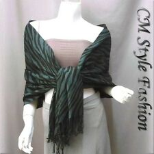 Zebra Tiger Animal Print Stole Scarf Shawl Wrap Teal Black OS