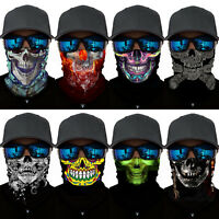 3D Skull Print Neck Scarf Balaclava Snood Headwear Half Face Shield Mask Bandana