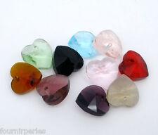 100 Mixte Perles Charms Coeur Cristal Verre à Facette Pr Bracelet Collier 10x10m