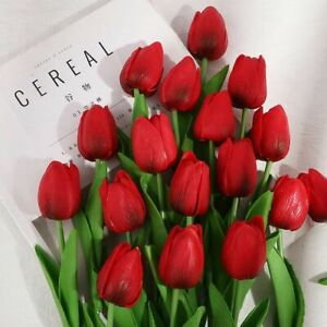 Tulip Artificial Flower Home Garden Bouquet Fake Party Decorations Colorful Silk