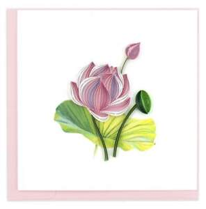 Quilling Card 3-D Greeting Card - PINK LOTUS - QUL-0984