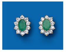 Emerald earrings Emerald Cluster Studs Yellow Gold Emerald Earrings