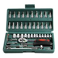 "46pcs Spanner Socket Set 1/4"" Car Repair Hand Tool Hex DR Ratchet Wrench Set Bit"