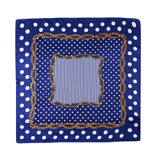 Small Square Silk Scarf Neckerchief Blue Theme Polka Dot Print XFJ228