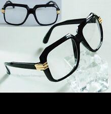 New Single Gold Side Metal Retro Gazelle Style Clear Lens Black Un Sun Glasses