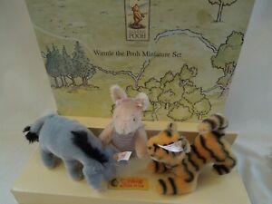 Steiff Classic Winnie The Pooh Miniature Set LE 2002-Tigger, Eeyore,Piglet
