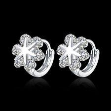 New 18K White Gold Plated Snowflake Shaped Cubic Zirconia Huggie Hoop Earrings