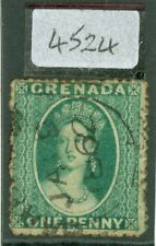 SG 1 Grenada 1861-62 1d bluish green. No WMK, rough perfs 14-16. Very fine...