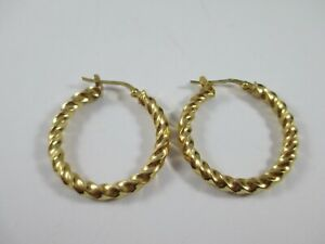 LOVELY PAIR OF PRE-OWNED QUALITY  9ct GOLD TWISTED HOOP EARRINGS 2.6g  31.5mm!