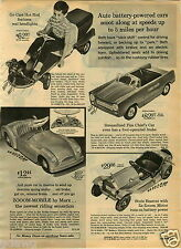 1965 PAPER AD Go Cart Hot Rod 5 MPH Fire Chief Battery Operated Pedal Car Texaco