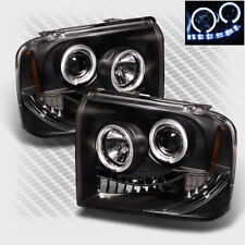 For 05-07 F250 F350 F450 Super Duty Halo LED Headlights Black Head Lights