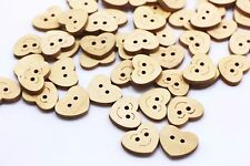 Heart Wood Sewing Button Flat Two Holes Children Cute Heart-shaped 19mm 100pcs