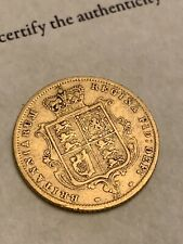 More details for 1872 queen victoria gold half sovereign shield back - rare 22ct royal mint