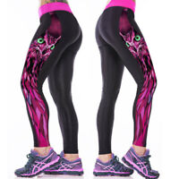 Frauen High Taille Yoga Hosen Sport Gym Laufen Workout Digital Print Leggings