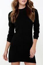 Women Ultra Soft Premium Long Sleeves Mockneck Perfect Mini Dress S-4XL