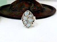 Sterling Silver 925 Signed SOL Chalcedony Unique Filigree Mod Ring Size 6