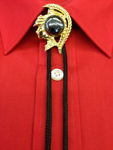 Bootlace ties,Roman Head Brooch with bootlace and Metal ends.Gold / Black String