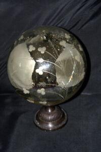 "Rare Mercury Mirror Glass Engraved Large 8"" Ball on Pedestal #S"