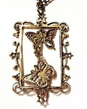 BUTTERFLIES in PICTURE FRAME dangling bronze pendant cameo charms butterfly H2