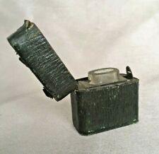 More details for victorian travelling inkwell in leather bound case push button opener